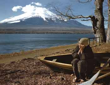 Mount Fujiyama and old Japanese woman - Boria photo - ca. 1947-1952