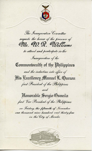 Invitation to the inauguration of President Quezon in 1935