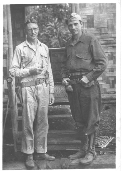 "U.S. Naval officers ""Fritz "" Worcester and Sam Wilson, prominent Manila businessmen and reserve"