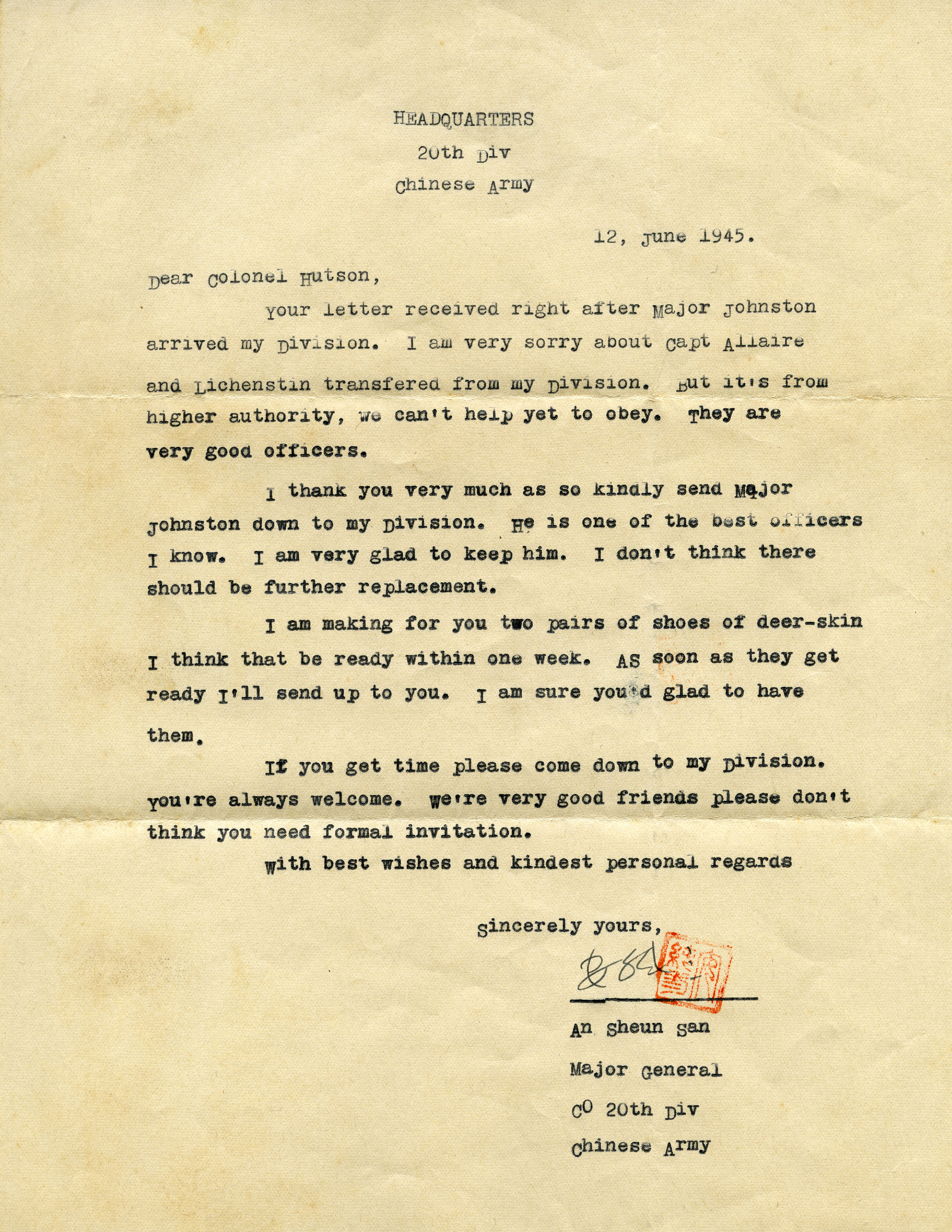 Letter to Hutson from the commander of the Chinese 20th Division