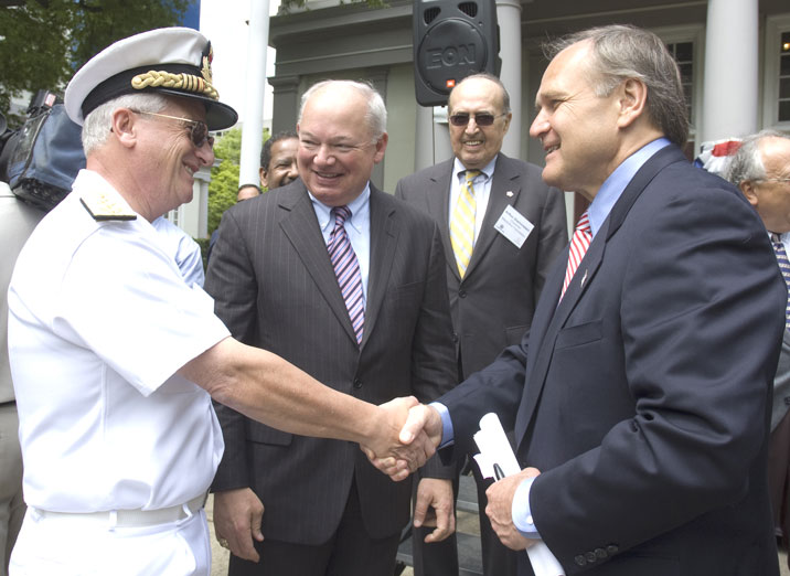 Admiral Luciano Zappata, Mayor Fraim, Arthur Diamonstein and Bob Nardelli