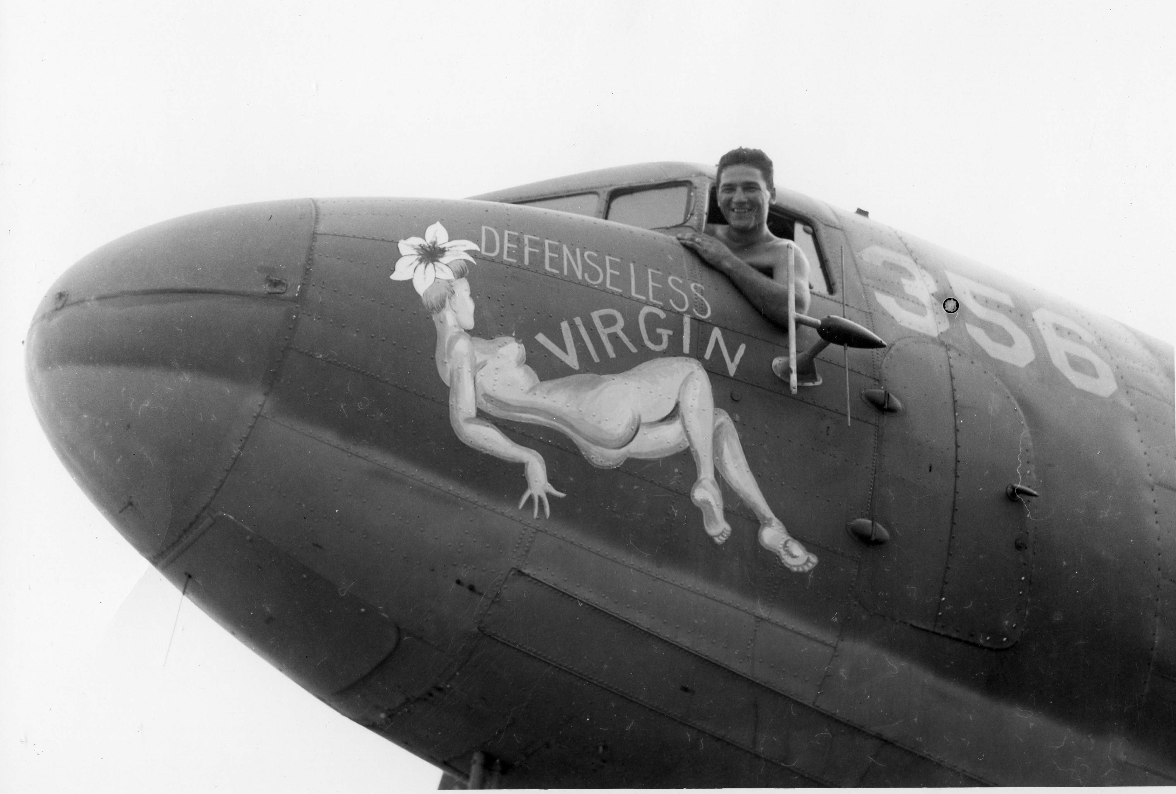Defenseless Virgin : C-47 : 455th Service Squadron : PH00005470 (Frederick German Collection)